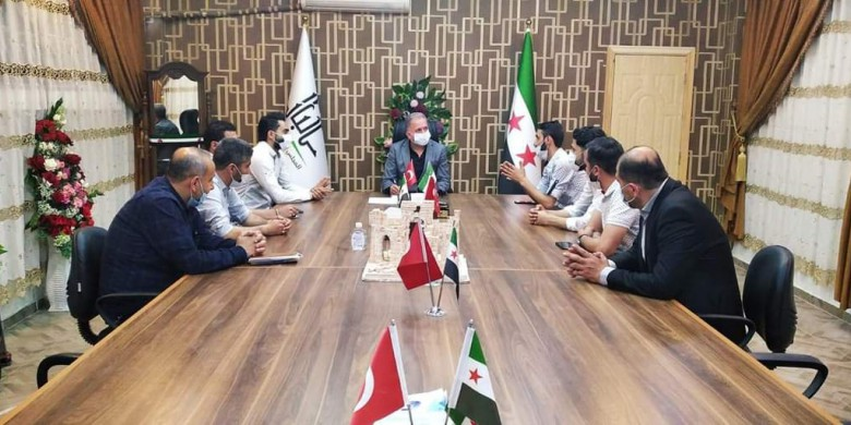 The president of al-Bab Local Council meets executive members of the Union of Syrian Journalists to collaborate on better working conditions for journalists-20 April 2021. Credits: Union of Syrian Media