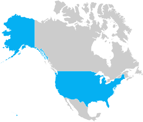 Map of United States of America (USA)